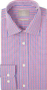 Moss Bros , Regular Fit Navy And Berry Single Cuff Bengal Gingham Check Shirt