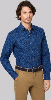 Moss Bros , Moss 1851 Slim Fit Blue And Black Single Cuff Paisley Floral Casual Shirt