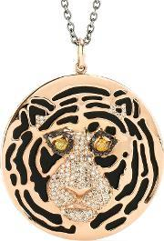 Ileana Makri , 18kt Rose Gold African Tiger Necklace With Onyx And Black, Yellow And Brown Diamonds
