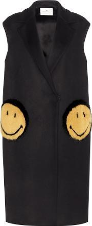Anya Hindmarch , Smiley Oversized Fur Trimmed Coat