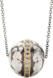 Roberto Marroni , Niello Engraved Silver Ball Pendant Necklace With Grey Diamonds And 18kt Gold