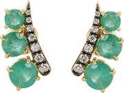 Jemma Wynne , Prive 18kt Yellow Gold Earrings With Diamonds And Emeralds