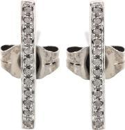 Sydney Evan , Medium Bar Black Gold Earrings With Black Diamonds