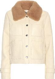 Acne Studios , Felipa Leather Jacket With Shearling Collar