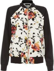 New Look , White Floral Print Contrast Sleeve Bomber Jacket