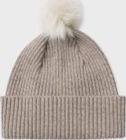 Paul Smith , Women's Taupe Cashmere Bobble Hat