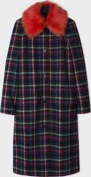 Paul Smith , Women's Multi Colour Check Coat With Removable Shearling Collar