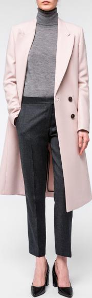 Paul Smith , Women's Pale Pink Wool Cashmere Double Breasted Coat
