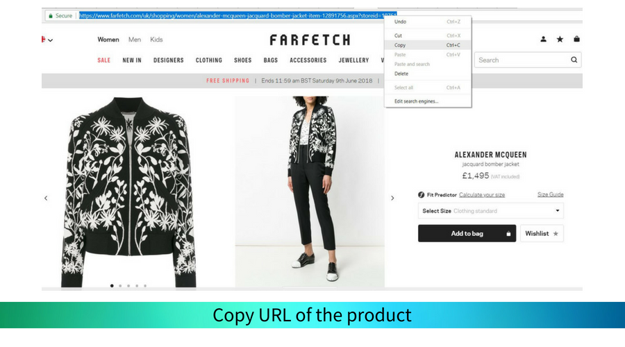 and open the product you like. Copy it's URL.
