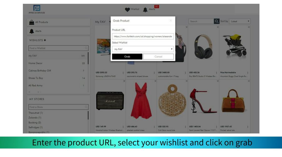 Paste the URL and enter your wishlist. Click on Grab and then leave the rest to us.