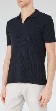 Reiss , Exmoor Mens Textured Polo Shirt In Blue