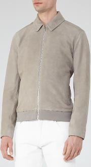 Reiss , Holt Mens Suede Collared Jacket In Grey