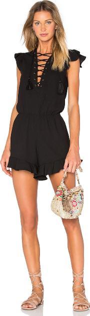 Endless Rose , Lace Up Ruffle Romper