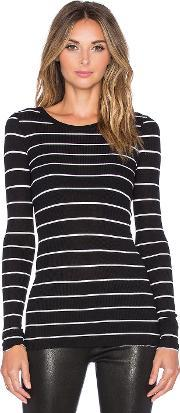 Enza Costa , Rib Fitted Long Sleeve Crew Neck Top