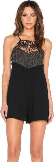 Oh Boy , Romper With Embroidered Mesh Detail
