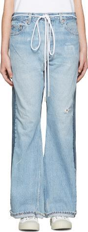Levis Co Offwhite , Levis C O Off White Ssense Exclusive Indigo Arrow Straight Join Jeans