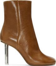 Vetements , Brown Leather Ankle Boots