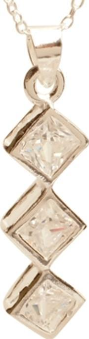 Topaz , Silver Clear Cz Triple Diamond Shape Pendant Pz-062-sq
