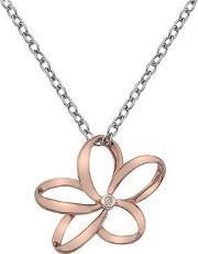 Hot Diamonds , Silver And Rose Gold Plated Diamond Flower Pendant Dp612