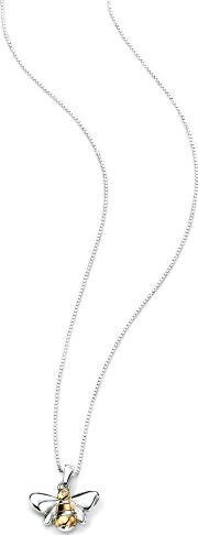 D For Diamond , Sterling Silver And Gold Plated Diamond Bee Pendant P4097
