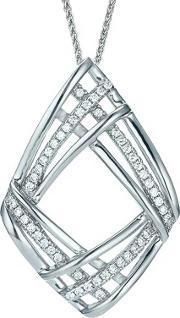 The Real Effect , Ladies Sterling Silver Cubic Zirconia Open Diamond Pendant Re28404