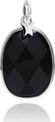 Chrysalis , Silver Faceted Black Onyx Oval Pendant Crpabs-bl