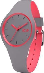 Icewatch , Ice-watch Mens Ice Duo Grey Pink Strap Watch Duo.dco.s.s.16