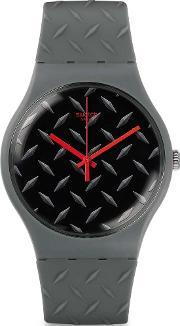 Swatch , Mens Text-ure Grey Strap Watch Suom102