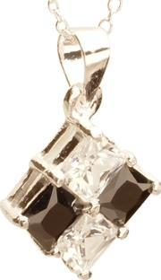 Topaz , Silver Black And Clear Cz Square Pendant Pz-426-n-1066-45