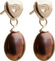 Topaz , Silver Cz Heart And Black Simulated Pearl Earrings Ez-765-4