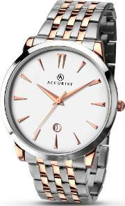 Accurist , Mens Rose Gold Plated Bracelet Watch 7075