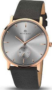 Accurist , Mens Rose Gold Plated Strap Watch 7127