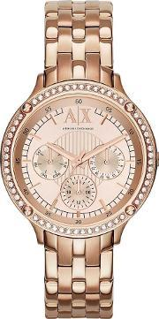 Armani Exchange , Ladies Rose Gold Plated Bracelet Watch Ax5406