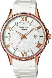 Casio , Rose Gold Plated White Plastic White Dial Watch She-4024g-7aef