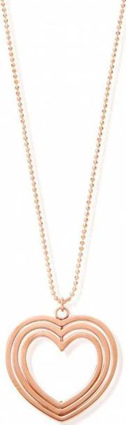 Chlobo , Rose Gold Plated Three Heart Pendant And Chain Rndc2075