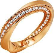 Esprit , Rose Gold Plated Silver Cubic Zirconia Twisted Ring Elrg91962c180