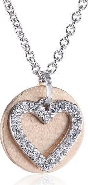 Esprit , Rose Gold Plated Silver Cz Heart And Disc Pendant Esnl92274a420