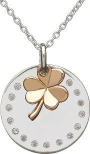 House Of Lor , Silver Cubic Zirconia Disc Rose Shamrock Pendant H-40004
