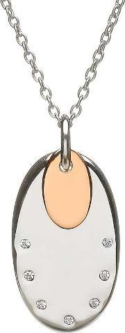 House Of Lor , Silver Cubic Zirconia Oval Rose Gold Plated Pendant H-40020