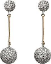House Of Lor , Silver Cubic Zirconia Rose Gold Bar Earrings H-30004