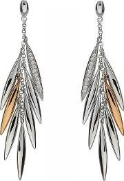 House Of Lor , Silver Cubic Zirconia Rose Gold Feather Dropper Earrings H-30003