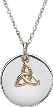 House Of Lor , Silver Disc Rose Trinity Knot Pendant H-40002