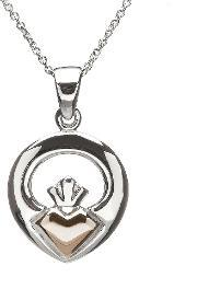 House Of Lor , Silver Rose Gold Claddagh Pendant H-40029