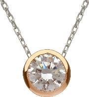 House Of Lor , Silver Rose Gold Cubic Zirconia Pendant H-40035