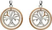 House Of Lor , Silver Rose Gold Cubic Zirconia Tree Of Life Earrings H-30018