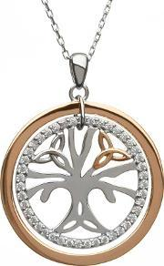 House Of Lor , Silver Rose Gold Cubic Zirconia Tree Of Life Pendant H-40034