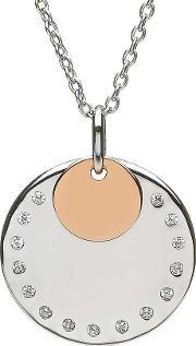 House Of Lor , Silver Rose Gold Plated Cubic Zirconia Disc Pendant H-40019