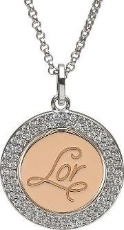 House Of Lor , Silver Rose Gold Plated Inner Disc Pendant H-40024