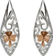 House Of Lor , Silver Rose Gold Plated Shamrock Celtic Earrings H-30013
