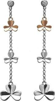 House Of Lor , Silver Rose Gold Shamrock Dropper Earrings H-30001
